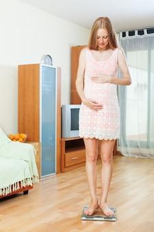 妊娠中の女性は、浴室の秤に立って