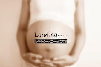 Pregnant woman with a  loading  poster