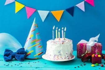 Present and homemade cake