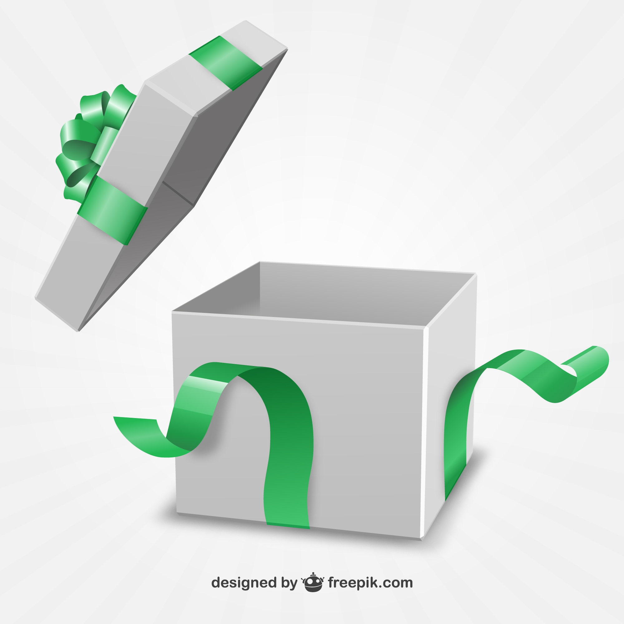 Present box with green ribbon