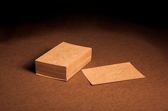 Presentation of blank cardboard business cards