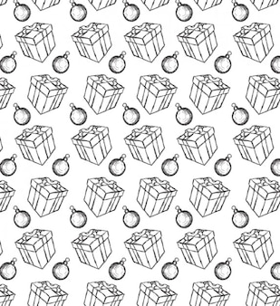Presents and bells seamless vector pattern