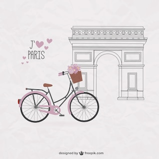 Pretty bicycle on Paris background