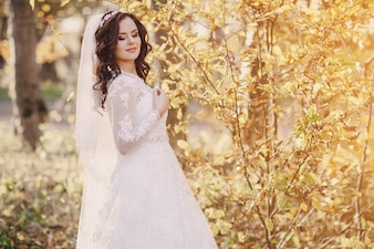 Pretty bride in nature