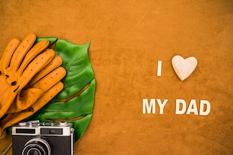 Pretty father's day composition with decorative heart