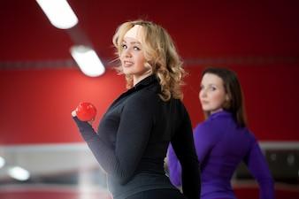 Pretty woman doing sport