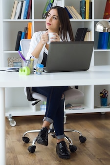 Pretty young woman working with laptop in her office.