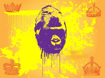 Primate with yellow splatters