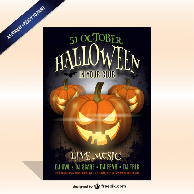 Printable Halloween party poster template