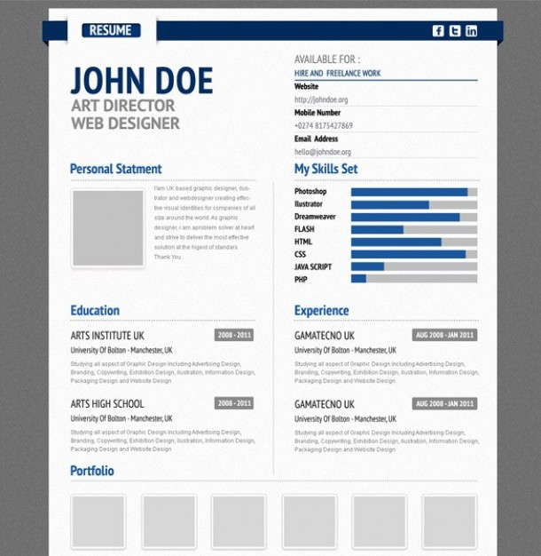 professional aurel blue cv resume form psd