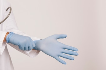 Professional doctor with gloves