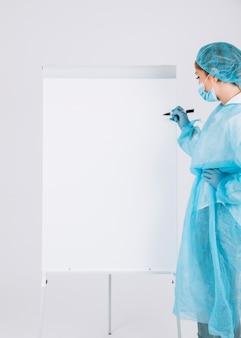 Professional surgeon writing on the whiteboard