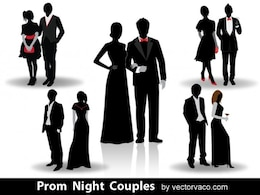 Prom night couples silhouettes
