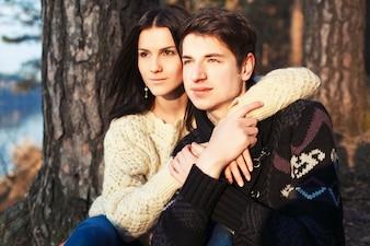 Proud couple enjoying a winter day