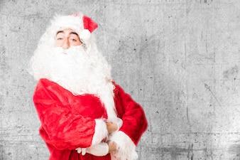 Proud man with santa claus costume