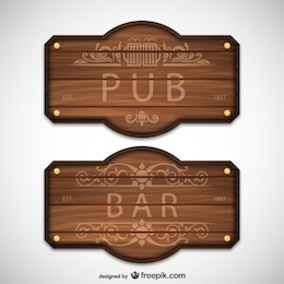 Pub and bar wooden signs