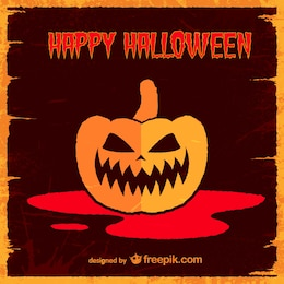 Pumpkin retro halloween card