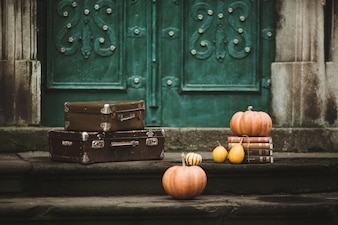 Pumpkins and travel bags