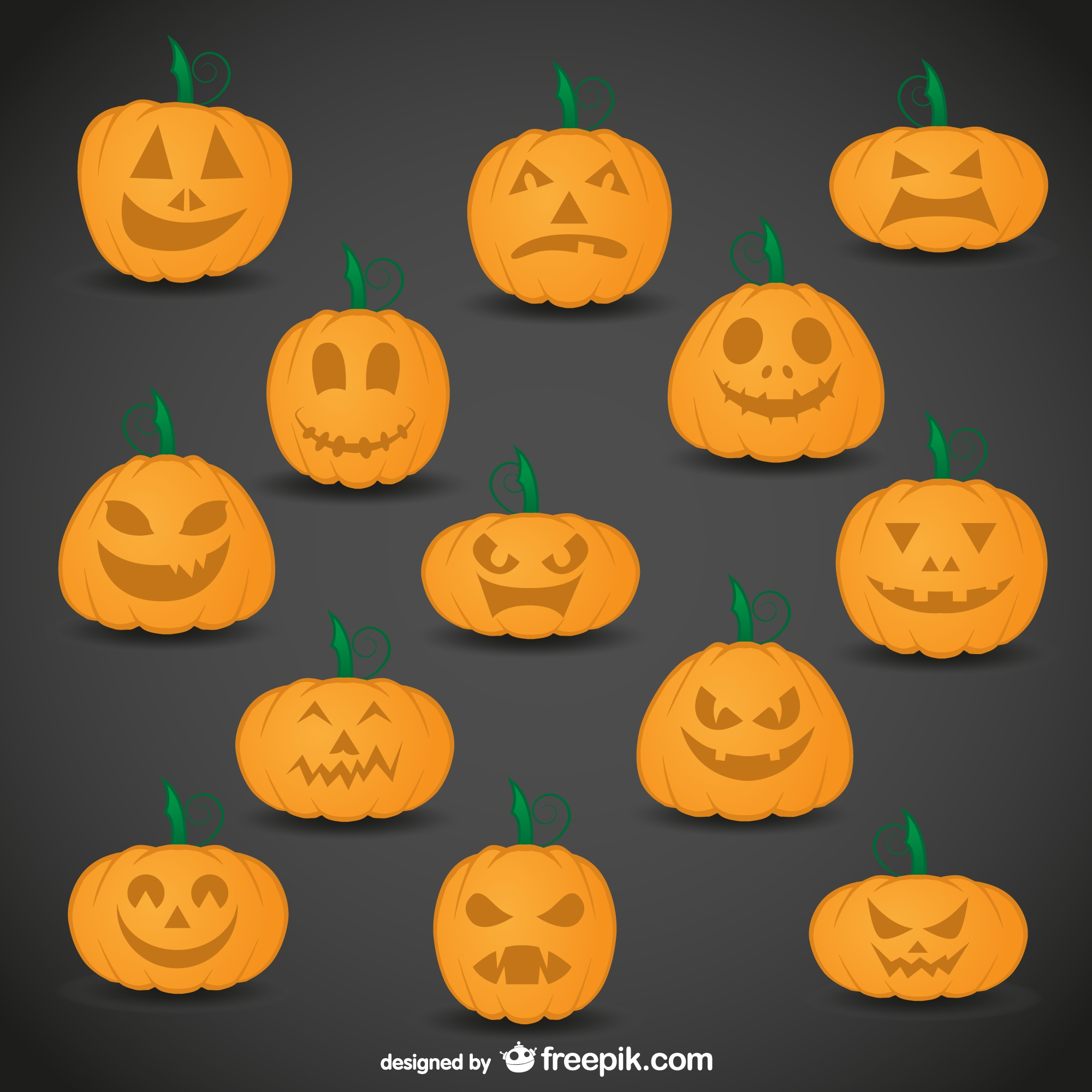 Pumpkins with facial expressions pack