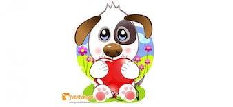puppy vector character holding a heart