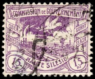 purple coal mine and pigeon stamp