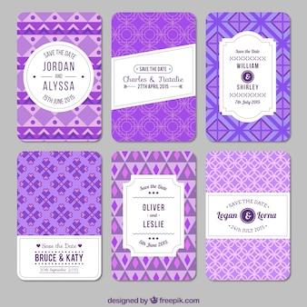 Purple geometric wedding invitations