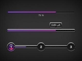 Purple progress bars UI elements