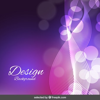 Purple wavy and bokeh background