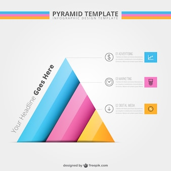 ピラミッドテンプレートインフォグラフィック