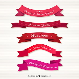 Quality ribbons in red tones