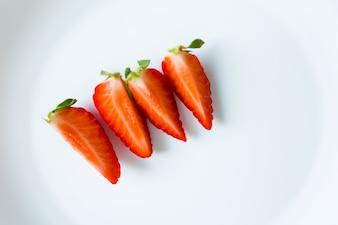 Quartered strawberries