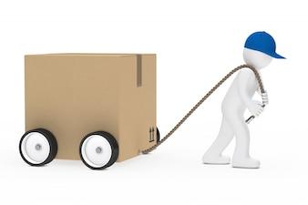Rag doll pulling a large box
