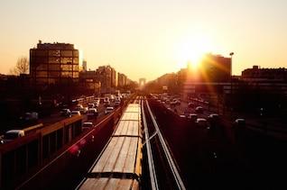 Railway between the highway
