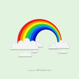 Rainbow clouds vector graphics