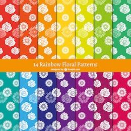 Rainbow floral patterns
