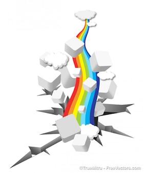 Rainbow on broken background
