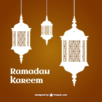 Ramadan Kareem background with lanterns
