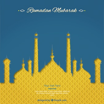 Ramadan mubarak card with abstract mosque