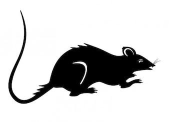 Rat silhouette black mouse vector