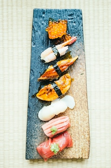 Raw and fresh nigiri sushi roll