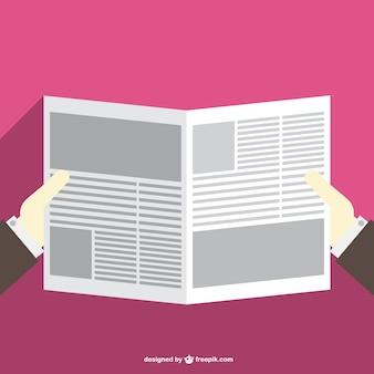 Reading newspaper flat vector illustration