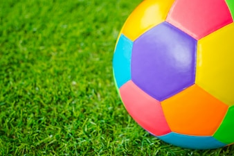 Real leather Colorful multi colour Soccer ball on green grass .