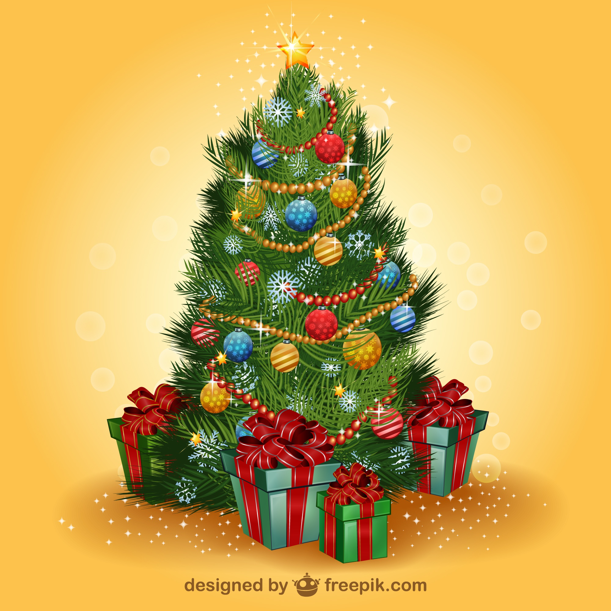 Realistic Christmas tree vector