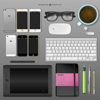 Realistic designer desk