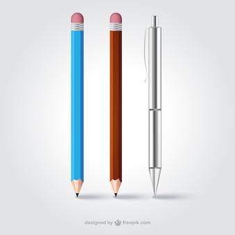Realistic pencils and pen