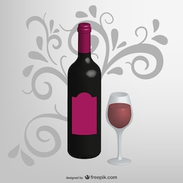 Realistic wine bottle and cup