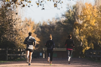 Rear view of people running outdoors