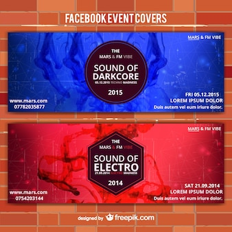 Red and blue event vector banners