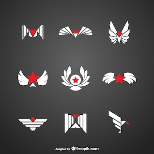 Red and white logos pack
