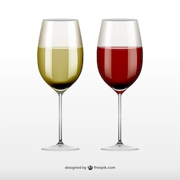 Red and white wine glasses